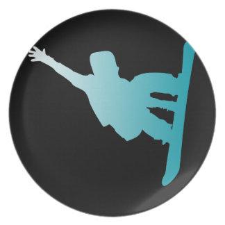 gradient blue snowboarder plate