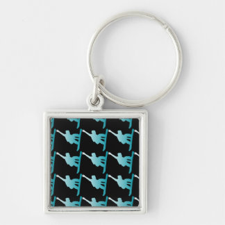 gradient blue snowboarder Silver-Colored square keychain