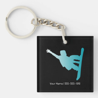 gradient blue snowboarder Single-Sided square acrylic keychain