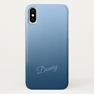 Gradient Blue with Custom Name iPhone X Case
