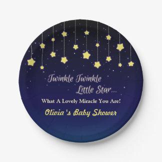 Gradient Dark Blue Twinkle Little Star Party Plate 7 Inch Paper Plate