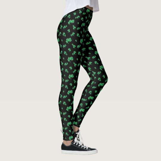 Gradient Green Irish Shamrock Pattern (dark) Leggings