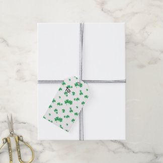 Gradient Green Irish Shamrock Pattern Gift Tags