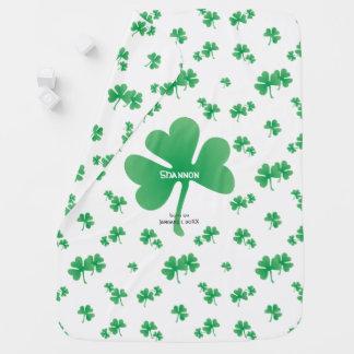 Gradient Green Irish Shamrocks w/ Name, Birth Date Baby Blanket