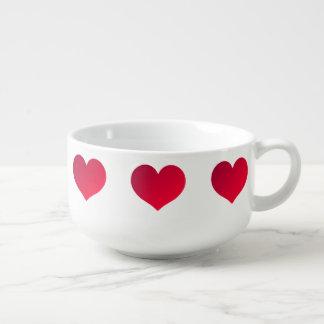 Gradient heart pattern soup mug