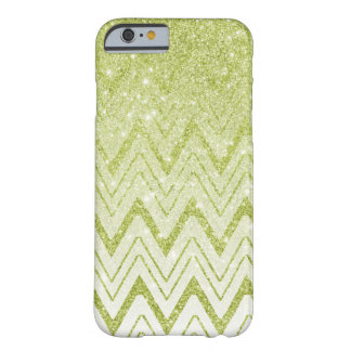 Gradient Light Green Glitter Chevron Pattern Barely There iPhone 6 Case