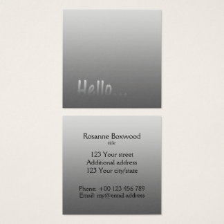 Gradient One Color Silver Hello with Custom Text Square Business Card