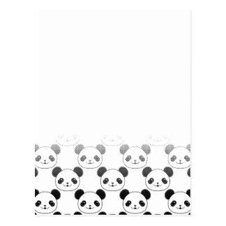Gradient Panda Bear Pattern Postcard