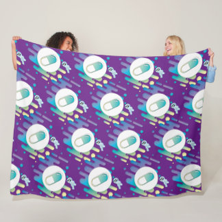 Gradient Pill - on deep purple Fleece Blanket
