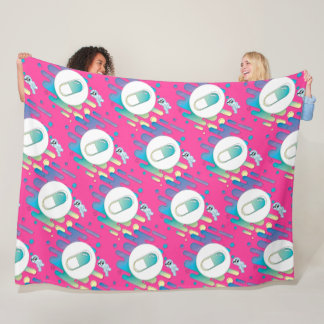 Gradient Pill - on fuscia Fleece Blanket