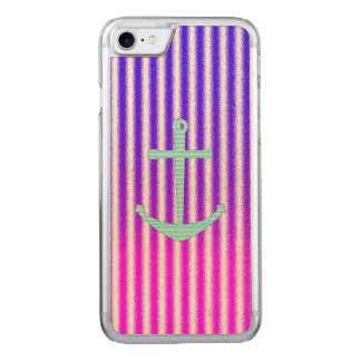 Gradient Pink Blue Teal Nautical Anchor Stripes Carved iPhone 8/7 Case