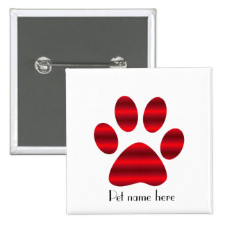 Gradient Red Paw 2 Inch Square Button