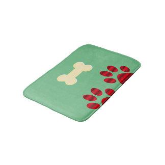 Gradient Red Paw w/Dog Bone Bath Mat