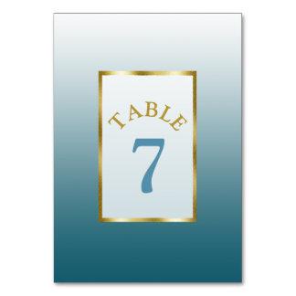 Gradient Slate Blue Wedding Table Number Card