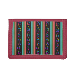 Gradient stripes and swirls pattern, trifold wallets