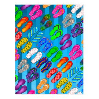 Gradient Stripes / Tropical & Modern Look Postcard