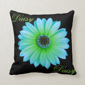 Gradient Teal Daisy Throw Pillow