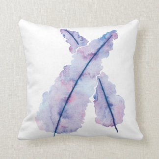 Gradient Watercolor Feathers on Pillow
