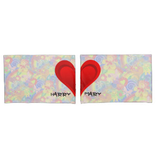 Gradients RED LOVE HEART + your backgr. & ideas Pillowcase