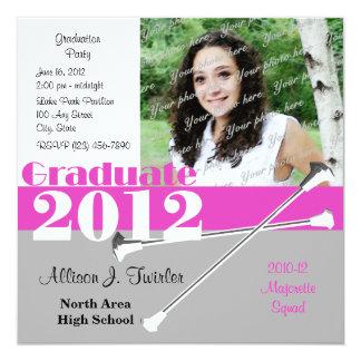 """Graduate 2012 Majorette 5.25"""" Square Invitation Card"""