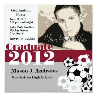 """Graduate 2012 Soccer 5.25"""" Square Invitation Card"""