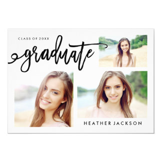 Graduate 2016 Trendy 3 Photo Collage Card