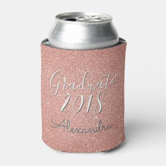 Graduate 2018 Rose Gold - Blush Pink Glitter Can Cooler