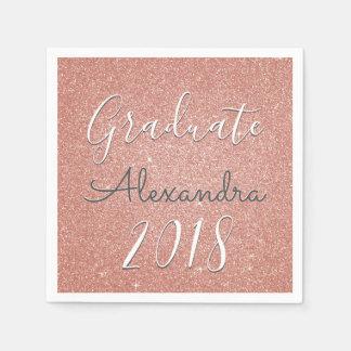 Graduate 2018 Rose Gold - Blush Pink Glitter Napkin
