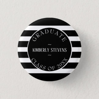 Graduate- Black And White Stripes Pattern 1 Inch Round Button