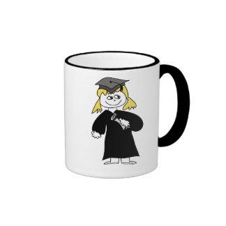 Graduate, Blonde Female Ringer Coffee Mug