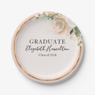 Graduate Blush & Rose Gold Modern Chic Floral Paper Plate