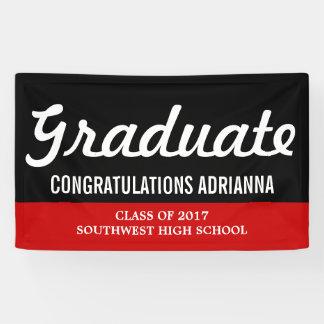 Graduate Bold Script Congratulations Black Red Banner