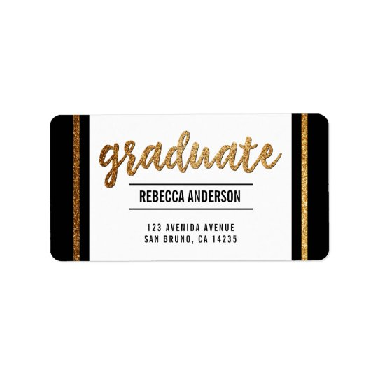 Graduate Calligraphy | Chic Gold Glitter on Black Label
