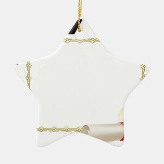 Graduate certificate background ceramic ornament