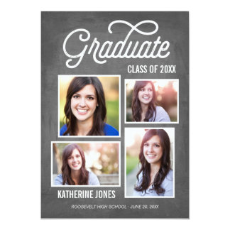 Graduate Class of 2016 4-Photo Collage Chalkboard Card