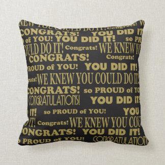 Graduate Congrats Black and Gold Throw Pillow
