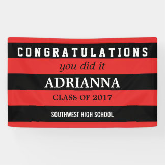 Graduate Congratulations Black And Red Stripes Banner