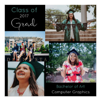 Graduate Custom Photo Collage 2 Poster