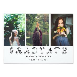 "Graduate Cute Script Three Photos Graduation Party 5"" X 7"" Invitation Card"