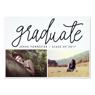 Graduate Cute Script Two Photos Casual Black Card