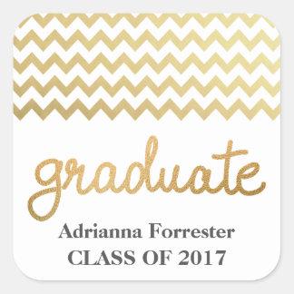 Graduate Faux Gold Foil Typography Chevron Pattern Square Sticker