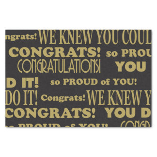 Graduate Gold and Black Congratulations Tissue Paper