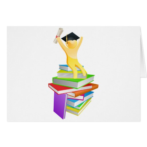 Graduate gold person and books card