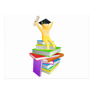 Graduate gold person and books post cards