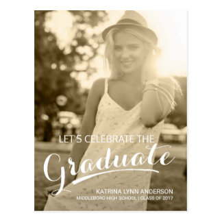 Graduate Graduation Party Handwritten Script Photo Postcard