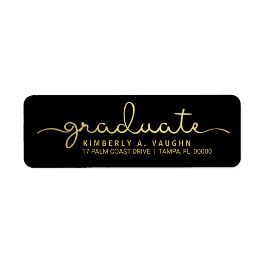 Graduate Hand Lettered Gold Foil Look Script