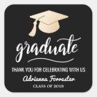 Graduate Handwritten | Grad Hat | Thank You Black Square Sticker