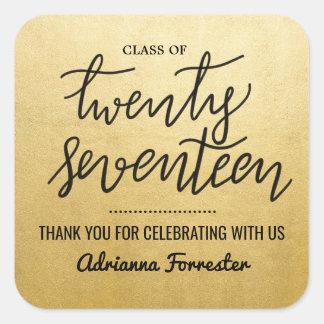 Graduate Handwritten Script | Thank You Gold Foil Square Sticker