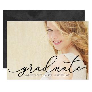Graduate In Black Script Photo Graduation Party Card