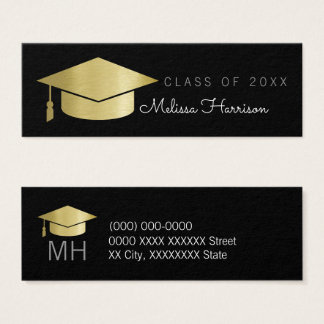 graduate name card, elegant class of, black mini business card